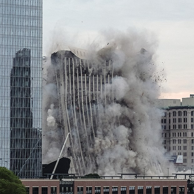It took months of preparation but only 16 seconds for the former headquarters of Dominion Energy at One James River Plaza in Down- town to be turned into rubble at 7 a.m. last Saturday to make way for a possible new office tower. The 21-story building at 701 E. Cary St. was imploded, a method that allows the floors to collapse onto themselves.