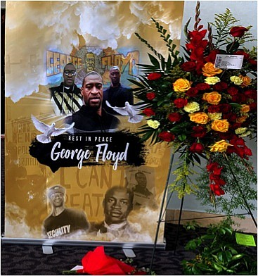 As I walked inside of the Fountain of Praise sanctuary where the public memorial for George Floyd was being held, ...