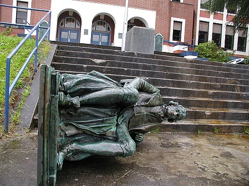 A historic bronze statute commemorating the namesake for Portland's Jefferson High school was toppled over after a protest of police ...