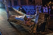 View of toppled statue of Confederate President Jefferson Davis that was pulled off its perch on Monument Avenue on June 10. A tow truck was called to lift and carry the statue away. This is one of four symbols of white supremacy and oppression that have been toppled in the city since demonstrations began on May 29.