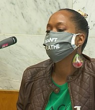 Demetria Hester speaks at Jeremy Christian's sentencing on Tuesday.