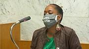 Demetria Hester speaks at Jeremy Christian's sentencing on Tuesday.