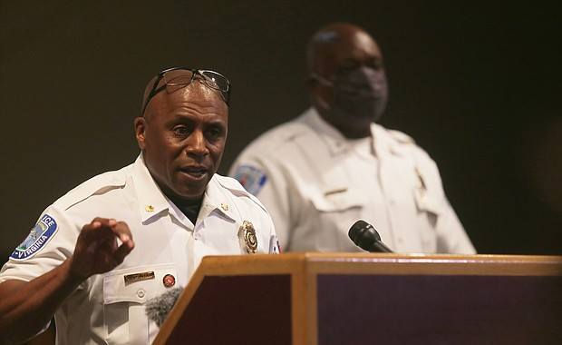 """Interim Chief William """"Jody"""" Blackwell refuses to answer any questions about his fatal shooting of Jeramy O. Gilliam in 2002 during his introductory news conference last week at the Richmond Police Training Academy."""