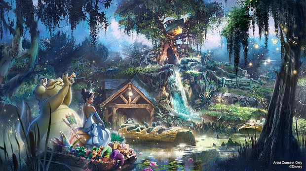 """Splash Mountain in Magic Kingdom Park at Walt Disney World Resort in Lake Buena Vista, Fla., will soon be completely reimagined, inspired by the animated Disney film """"The Princess and the Frog."""" Guests will join Princess Tiana and Louis on a musical adventure as they prepare for their first Mardi Gras performance, featuring some of the powerful music from the film."""
