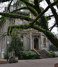 Deady Hall, a building at the University of Oregon named for an early white settler who supported slavery and who helped draft the state's constitution which barred Black people from living in the territory, will be renamed in an acknowledgement of past racism, university officials announced Wednesday. (Photo courtesy Wikipedia Commons)