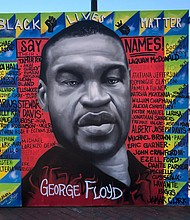 "Susan Campbell Park located in downtown Annapolis, is the current home of a new mural which pays homage to George Floyd and others who lost their lives to police killings. The mural entitled, ""Say Their Name,"" was painted live by Jeff Huntington; Deonte Ward; and Comacell Brown, Jr. Additionally, Douglas Day built the wall structure. Jeff Huntington served as the project's lead artist. The project was painted live on June 7, 2020, as a part of a vigil, which drew hundreds of people."