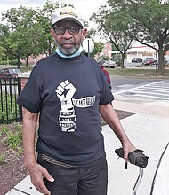 "Ronald Curtis dons an ""I Can't Breathe"" Black Lives Matter t-shirt to show support for the demonstrations against police brutality and racial injustice."