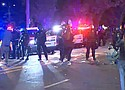 Protestors clash with police Tuesday nigth in the vicinity of a police union office on North Lombard Street and Campbell Avenue. (KPTV photo)