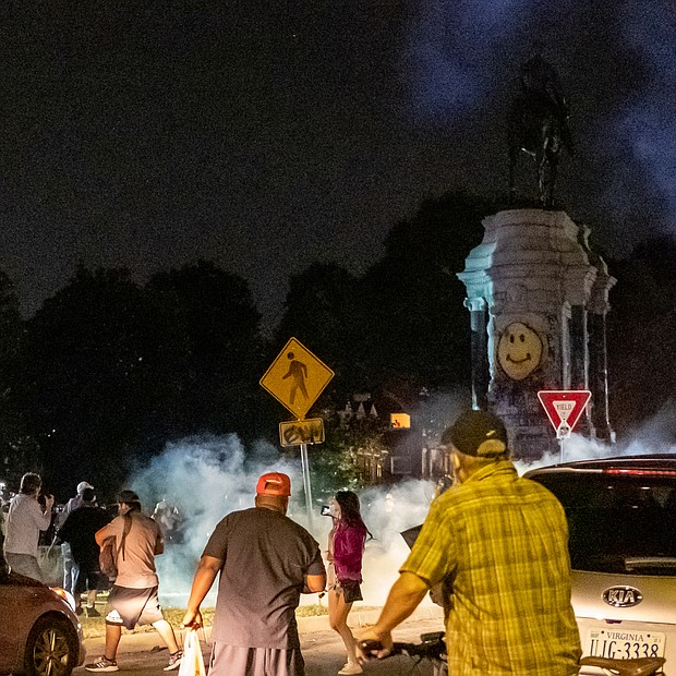 After declaring an unlawful assembly last Friday, State Police release tear gas on the crowd of peaceful protesters and bystanders at the Lee statue. The state began shutting down the area around the statue from sunset to sunrise under an order last week from Gov. Ralph S. Northam.