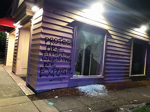 Windows were smashed at a Bank of America branch on Northeast Martin Luther King Jr. Boulevard for the second time last week after a protest march on police brutality and racial justice descended into violence and vandalism.