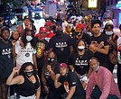 Members of the National Action Network's Youth Huddle hold a prayer vigil and community rally in the Bronx on July 2 after the fatal shooting of 17-year-old Brandon Hendricks, who was killed on June 28 by a stray bullet.