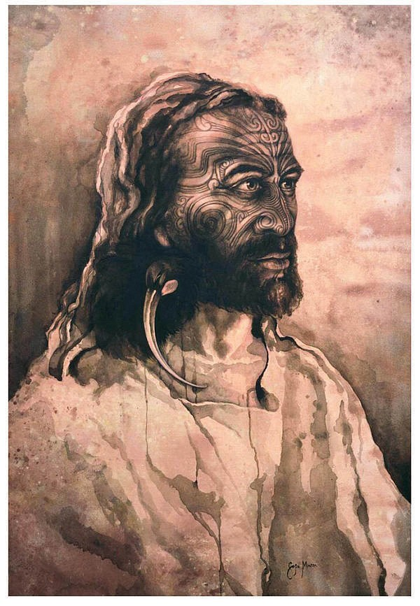 """Māori Jesus"" is artist Sofia Minson's depiction of the Messiah as tangata whenua (indigenous Māori) with full-face moko (traditional tattoo)."