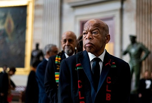 John Robert Lewis, the son of sharecroppers who survived a brutal beating by police during a landmark 1965 march in ...