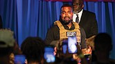 Kanye West makes his first presidential campaign appearance, Sunday, July 19, in North Charleston, S.C. Mr. West delivered a lengthy monologue touching on topics from abortion and religion to international trade and licensing deals.