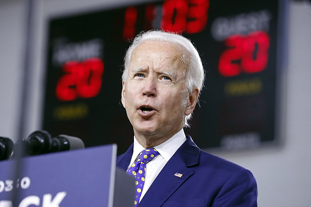 "Democratic presidential candidate former Vice President Joe Biden speaks at a campaign event at the William ""Hicks"" Anderson Community Center in Wilmington, Del., Tuesday, July 28.  (AP Photo/Andrew Harnik)"