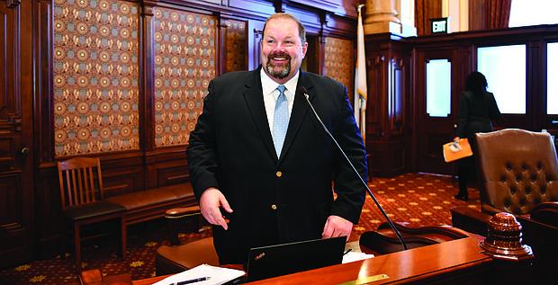 Illinois State Senator Patrick Joyce (D-Park Forest) on the Senate Floor in Springfield November 2019. Photo courtesy of State Senator Patrick Joyce