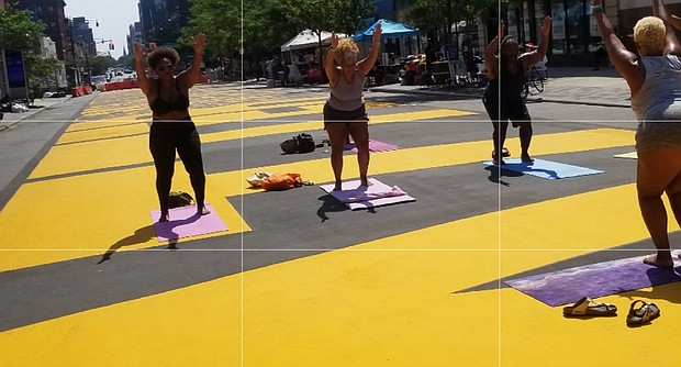 Yoga on the Brooklyn Black Lives Matter mural