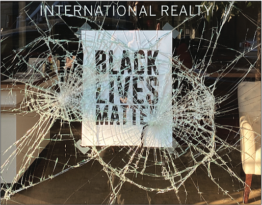 The window was shattered at this real estate office in the 1500 block of West Main Street despite the Black Lives Matter sign posted.