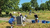 Volunteers clean Woodland Cemetery last month in honor of Arthur Ashe's birthday.