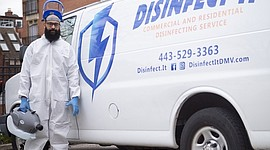 In February, Baltimore native, Marcellus Mosby II (above) established DISINFECT-IT, an EDA-certified commercial and residential disinfecting service that now has emerged as a regional leader in microbial remediation and a safeguard against the rapidly spreading pandemic. Mosby's business counted among the first companies incorporated solely to provide disinfection in the region. DISINFECT-IT partners collectively have amassed over 30 years of janitorial, sanitation, and disinfecting compliance experience.