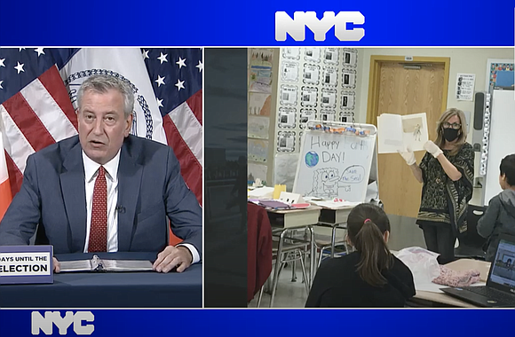 Mayor Bill de Blasio holds a press briefing about plans to open schools for the upcoming academic year.