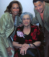 Left to right: Cathy Liggins Hughes (daughter), Helen Jones Woods and Alfred Liggins (grandson)