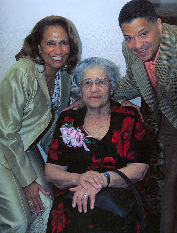 Left to right: Cathy Liggins Hughes (daughter), Helen Jones Woods and Alfred Liggins (grandson)