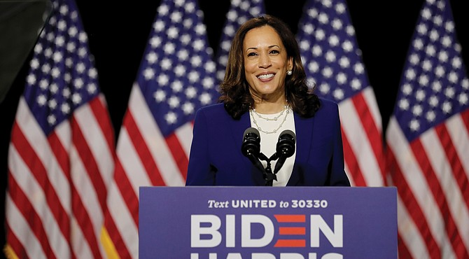 Democratic vice presidential candidate sen. Kamala Harris speaks at a campaign event Wednesday in Wilmington, Del. It was her first joint appearance with presidential candidate Joe Biden after being named as his running mate.