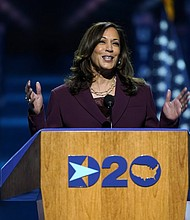 Sen. Kamala Harris, D-Calif., speaks Wednesday at the Chase Center in Wilmington, Del. as she accepts the Democratic vice presidential nomination on the third day of the Democratic National Convention.   (AP photo)