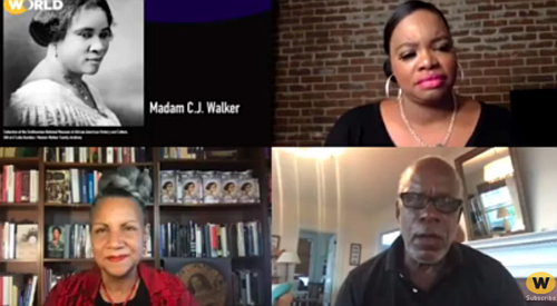 """Screenshot Host Tina Martin and Madame C.J. Walker biographer A'lelia Bundles, filmmaker Stanley Nelson at WORLD Channel screening and panel """"Two Dollars and a Dream."""""""