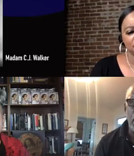 """Screenshot Host Tina Martin and Madame C.J. Walker biographer A'lelia Bun- dles, filmmaker Stanley Nelson at WORLD Channel screening and panel """"Two Dollars and a Dream."""""""