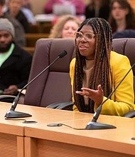 Akasha Lawrence Spence speaks before the Multnomah County Board of Commissioners in January when the board named her state representative for House District 36, a temporary assignment to fulfill a vacancy. Spence is one of 11 Black leaders charged with guiding the allocation of a $62 million relief fund reserved for the Black community to help individuals, families and businesses weather the financial harm caused by COVID-19.  (Photo courtesy Multnomah County)