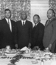 The legendary planners of the 1963 March on Washington meet in New York City in 1963, including (left to right): John Lewis, Whitney Young, A. Phillip Randolph, Rev. Dr. Martin Luther King Jr., James L. Farmer Jr. and Roy Wilkins.
