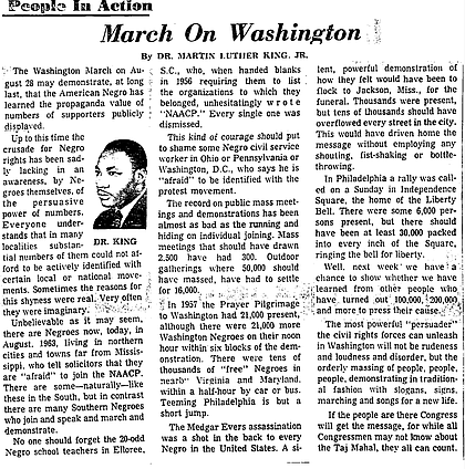 Op-ed written by Dr. Martin Luther King about the March on Washington