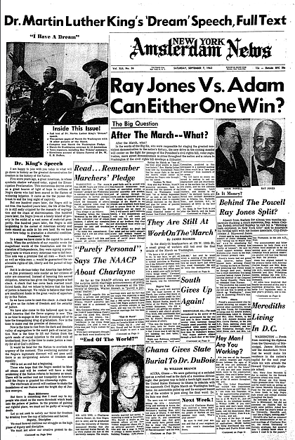 Frontpage of the Amsterdam News after the March on Washington