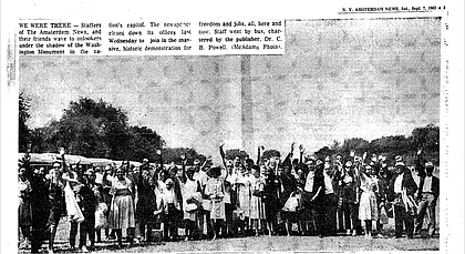 New York Amsterdam News staff at the March on Washington. The newspaper's publisher at the time, Dr. C.B. Powell, chartered a bus for staff and the office closed that day.