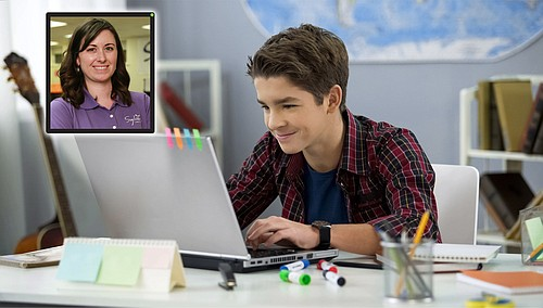 A Sylvan student learning online. A Sylvan instructor is shown in the picture's inset.