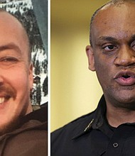 Aaron 'Jay' Danielson (left) is identified as the victim of a shooting downtown and Police Chief Chuck Lovell (right) is calling on the public for help as authorities conduct an investigation.