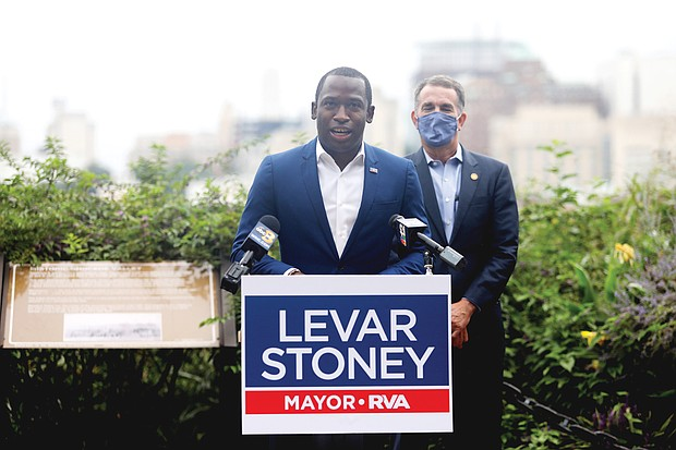 Mayor Levar M. Stoney talks about the successes of his first term in office and details his vision for Richmond's future as he launches his bid for re-election Tuesday with the endorsement of Gov. Ralph S. Northam. Location: City overlook at East Grace Street in Church Hill.