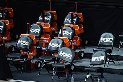 The Milwaukee Bucks bench remains empty