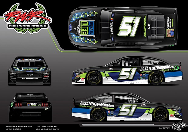 Donate Life Virginia, the state's organ registry organization, is the sponsor of the race car shown in this mock up that bears Christopher J. Woody's likeness and will be driven in Saturday's Federated Auto Parts 400 NASCAR Cup Series Playoff race in Richmond.