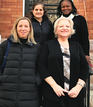 LTC's Amanda Owens, Abell Foundation; Ginny Robertson, President of the Light of Truth Board of Directors; (back row left to right) Elizabeth Perriello Rice, France Merrick Foundation; and Betty Scott, Peer Housing Specialist LOT.