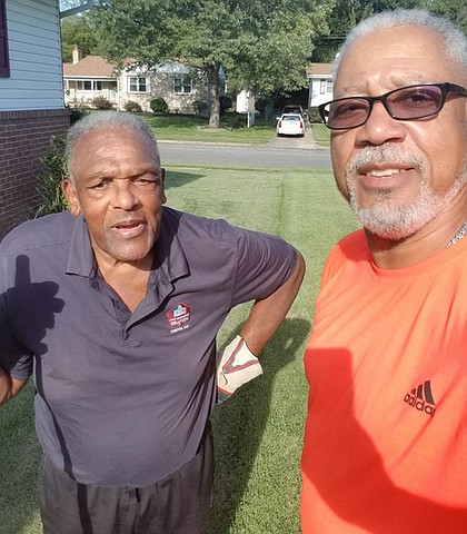 Still going strong and doing yard work at age 81, Baltimore Colts legend and NFL Hall of Famers, Lenny Moore #24 with his friend and next-door neighbor, Reggie Wilson his next-door neighbor. God bless them both.