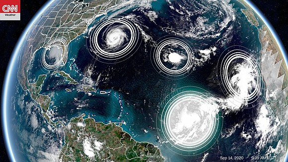 It's peak hurricane season, and that's clear when you look at the Atlantic Ocean, which has five active tropical cyclones ...
