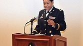 Col. Monica R. Lawson addresses family and friends during her historic promotion ceremony Sept. 2 at Fort Jackson in Columbia, S.C.