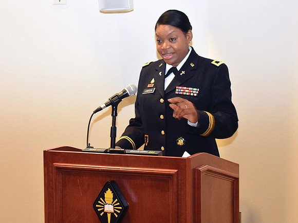 The U.S. Army has promoted an active-duty African- American woman chaplain to the rank of colonel for the first time.