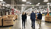 Deshon Scott-Hopwood, right, senior plant manager of the U.S. Postal Service Richmond Processing and Distribution Center in Sandston, gives U.S. Reps. A. Donald McEachin, center, and Abigail Spanberger a tour of the facility on Sept. 10.