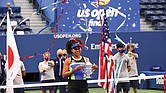 Naomi Osaka of Japan celebrates winning against Victoria Azarenka of Belarus in the 2020 women's singles U.S. Open tennis tournament last Saturday.