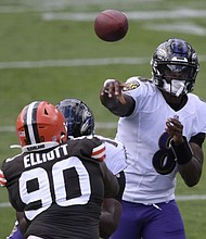 Ravens quarterback Lamar Jackson completed 20 of his 25 pass attempts for 275 yards and three touchdowns in Baltimore's 38-6 win over the Cleveland Browns to start the season on Sunday, September 13, 2020.