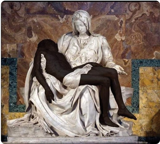An interpretation of Michel- angelo's iconic Pietà featuring a Black Jesus has unexpectedly caused a debate about Black Lives Matter, ...